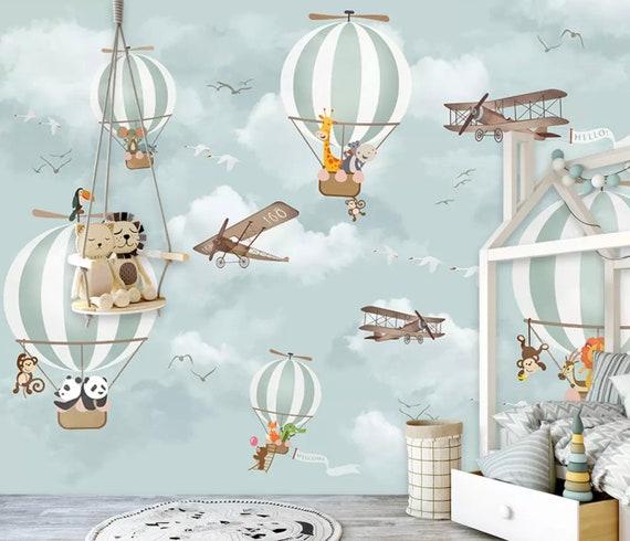 Superbe Kids Wallpaper Hot Air Balloon Animals Wallpaper Kids Wall Mural Airplane  Wall Art Nursery Wall Decor Boys Bedroom Girls Bedroom Playroom