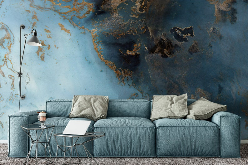Wave Wallpaper Turquoise Gold Abstract Wall Mural Mediterranean Home Decor  Cafe Design Living Room Bedroom