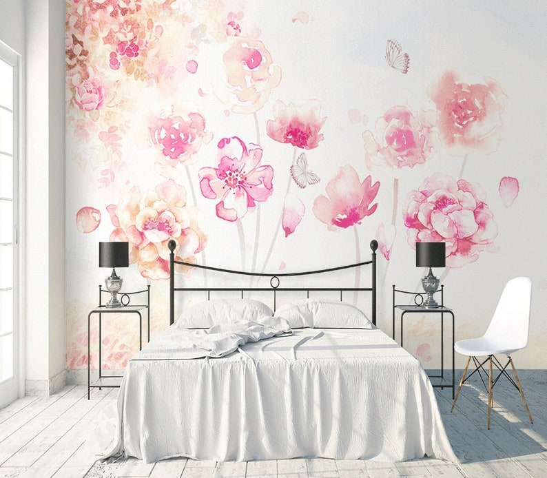 Floral Wallpaper Pink Flower Wall Mural Romantic Blossom Wall Print Classical Home Decor Cafe Design Living Room