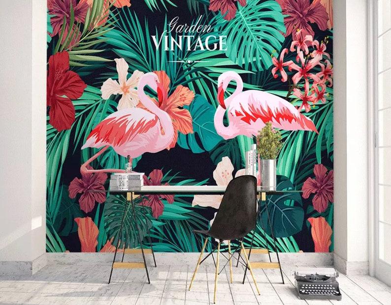 Flamingo Wallpaper Tropical Leaf Wall Mural Mirabilis Floral Etsy