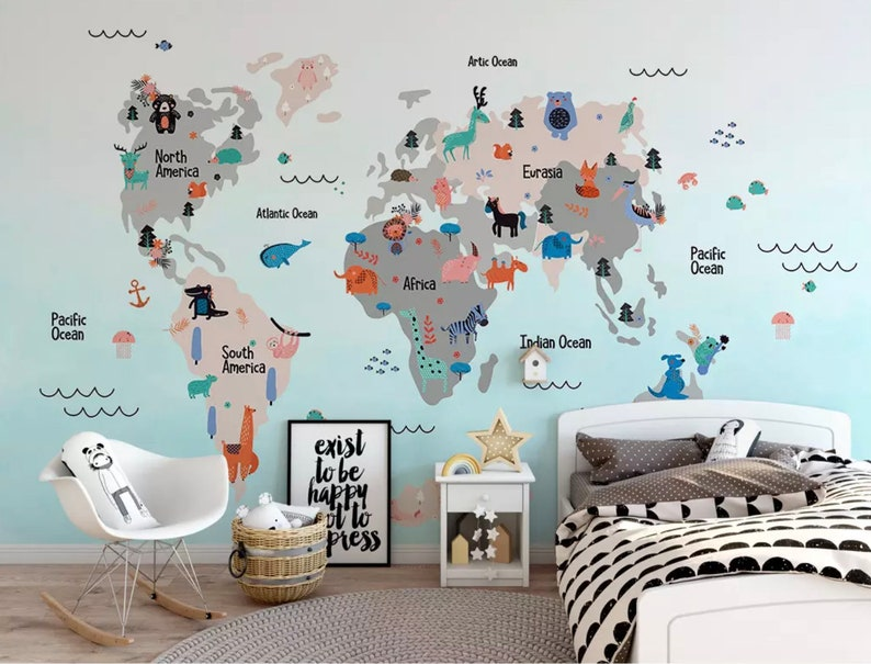 Kids Wallpaper Kids World Map Wall Mural Nursery Map Wall Decor Girls Boys Bedroom Wall Art Kindergarten Wall Paint Art Baby Room Mesmerizing Kids Bedroom Wall Murals