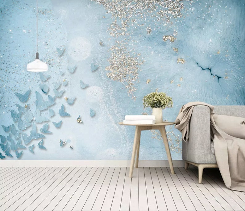Abstract Wallpaper Blue Butterfly Wall Mural Minimalist Home Decor Cafe Design Living Room Entryway