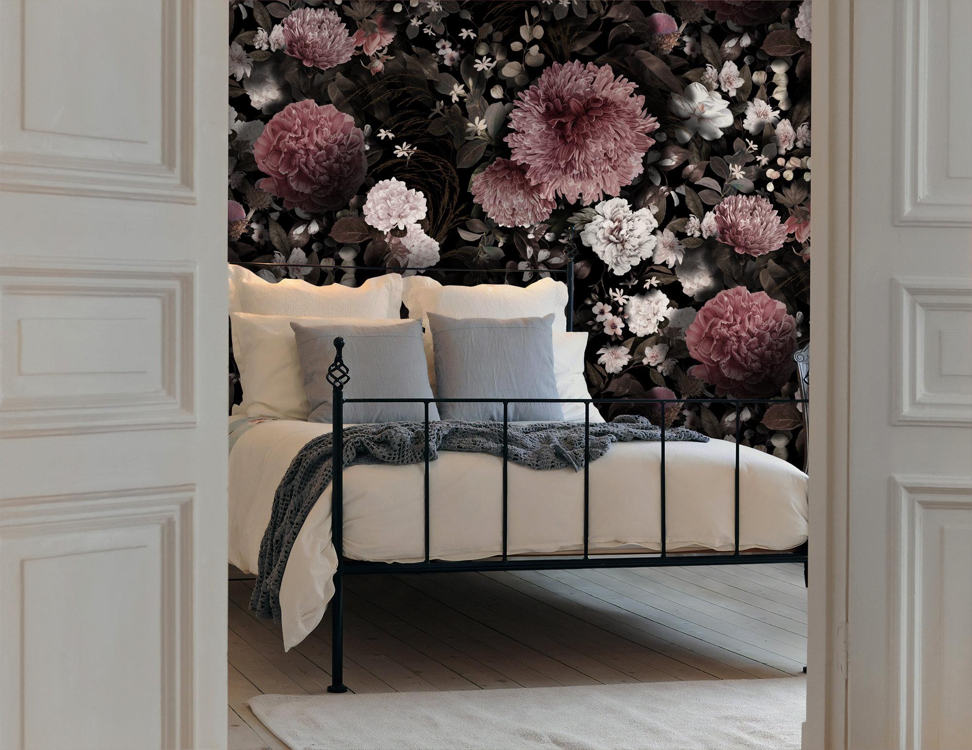 Dark Floral Wallpaper Pink Chrysanthemum Wall Mural White Etsy