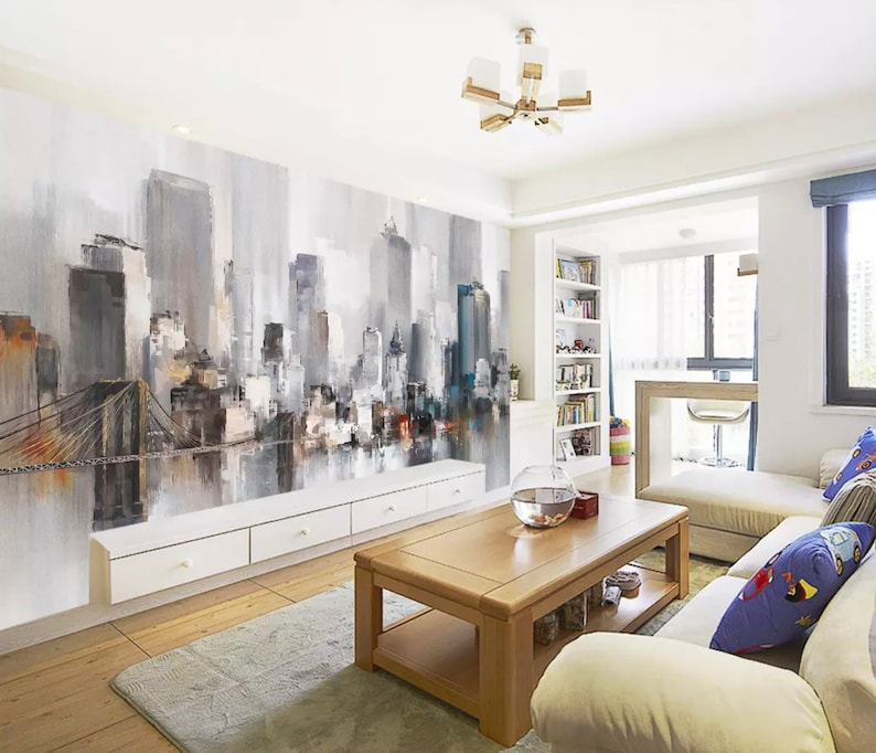 City Wallpaper New York City Wall Mural Watercolor Landscape Wall Art Modern Home Decor Living Room Bedroom Entryway