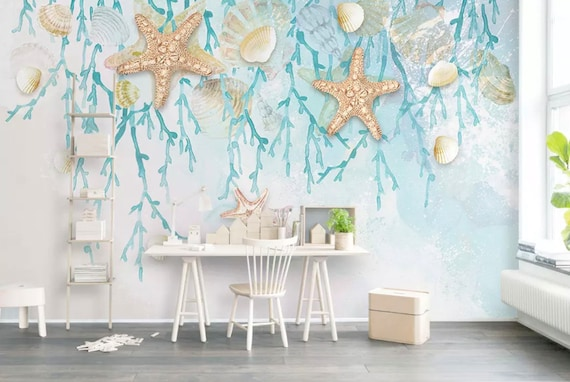 Sea Wallpaper Undersea Wall Mural Starfish Wall Art Modern Cafe Decor Ocean Deep Sea Seashell Murals Living Room Bedroom