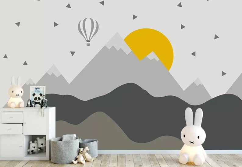 Kids Mountain Wallpaper Nursery Hot Air Balloon Wall Murals Child Landscape Reusable Wall Art Baby Room Wall Decor Boys Bedroom Girls Bedroo Adorable Kids Bedroom Wall Murals