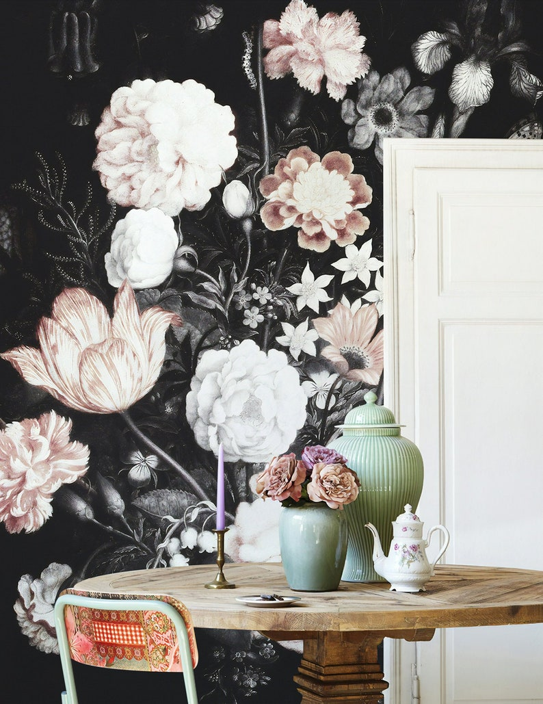 Dark Floral Wallpaper Dutch Flower Wall Mural Hydrangea Etsy