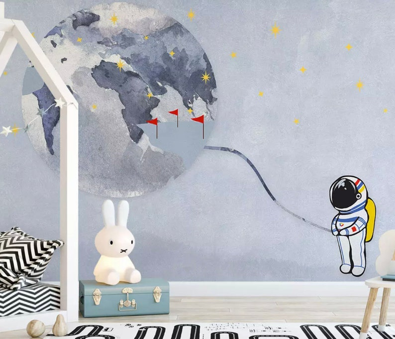 Kids Wallpaper Cartoon Space Wall Mural Child Astronaut Wall Art Boys Bedroom Wall Decor Children Rooms Baby Room Nursery Wall