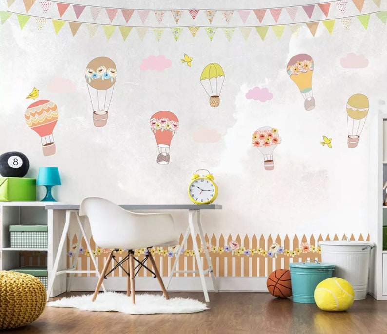 Kids Wallpaper Little Hot Air Balloon Wall Mural Cartoon Sky Etsy