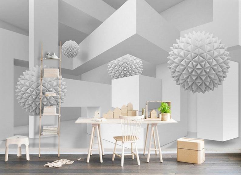 Geometric Wallpaper White Corridor Wall Mural Abstract Ball Wall Print Scandinavian Home Decor Cafe Design Entryway