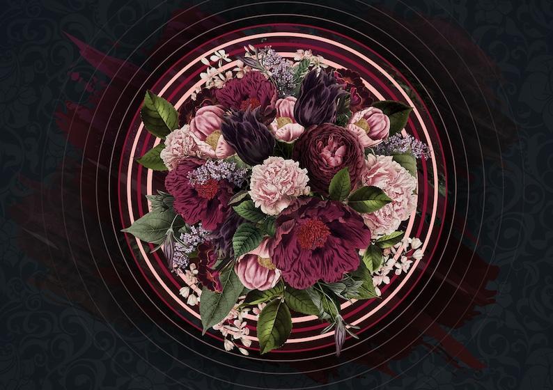 Dark Floral Wallpaper Circle Flower Wall Mural Peony Blossom Wall Print British Home Decor Cafe Design Living Room