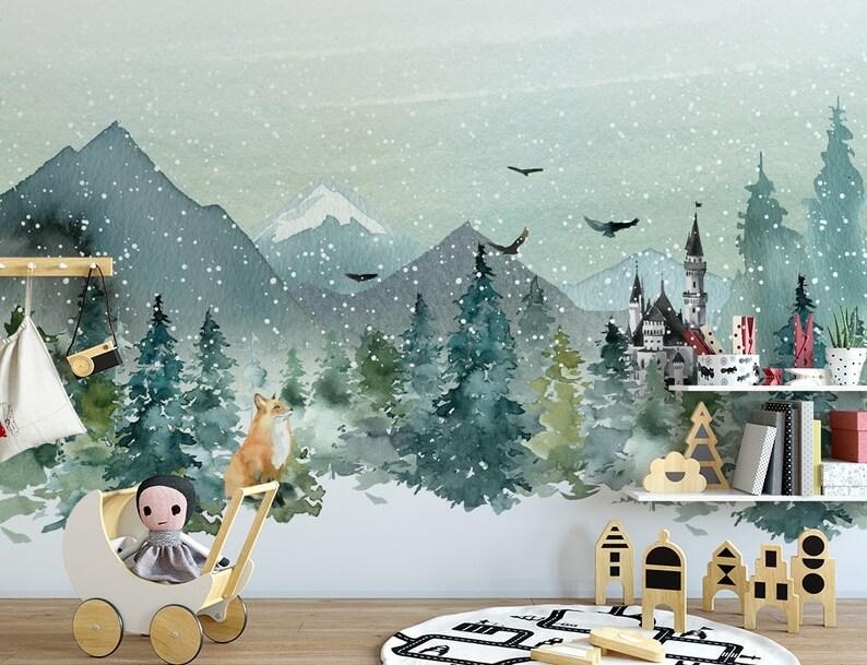 Snow Wallpaper Watercolor Winter Wall Mural Landscape Wall Print Fox Wall Art Nordic Home Decor Cafe Design Entryway
