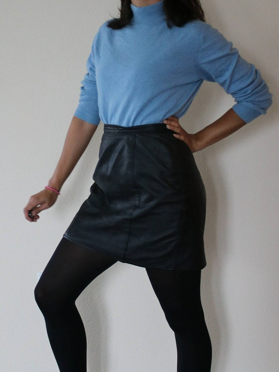 80s Vintage Genuine Leather Mini Skirt