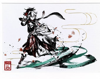 Fanart Print - Kaedehara Kazuha Scarlet Leaves Genshin Impact Print