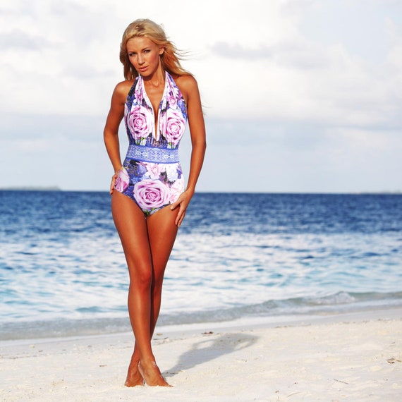 Pretty Floral Gray Pink Tropical Rose Print Bathing Suit Swimwear One Piece Swimsuit High Waisted Vintage Style Retro Pin-up Maillot