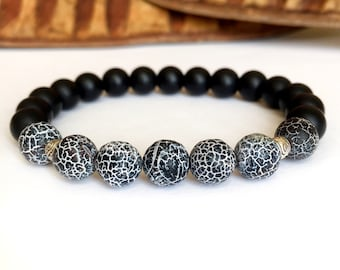 Men/'s Shamballa bracelet all 10mm  NATURAL Fire Crackle purple AGATE stone beads