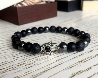 0edbb3b0b4 Good Luck Bracelet, Women bracelet, Beaded bracelet, men bracelet, unisex,  gift for men, Womens gift, Black onyx, lava rock, gothic bracelet