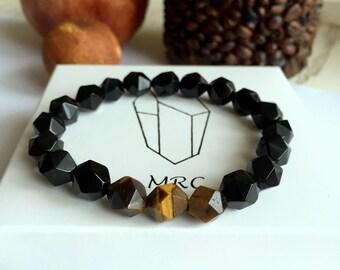 Beaded mens bracelet, onyx bracelet, tiger eye, faceted beads bracelet, gift for men, groomsmen gift, mens gift, mens jewelry, unique gifts