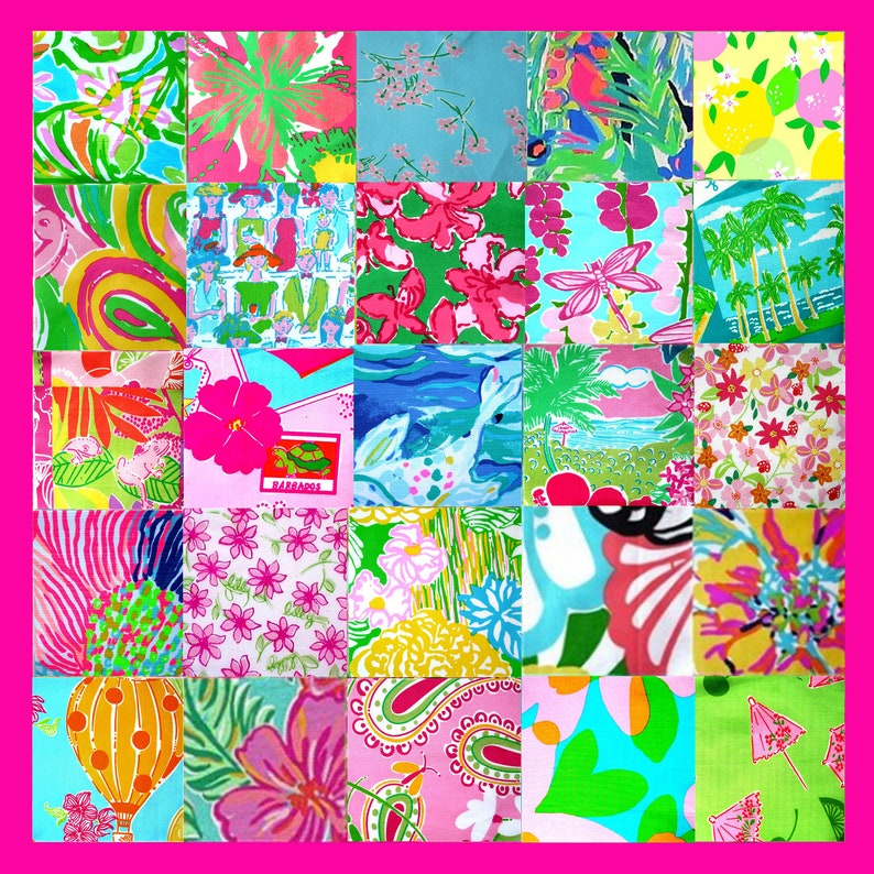 989c2ae9ad5fde 25 DIFFERENT SQUARES of Lilly Pulitzer Fabrics 5x | Etsy