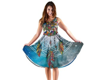 9bc5a0ed2 Colorful Dreamcatcher Dress Boho Abstract Ornate Ethnic Style Mid Length  Flowy Skirt Native Dream Catcher Pattern