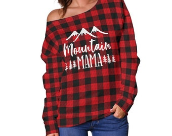 726b74de07948 Mountain Mama Red Buffalo Plaid Off The Shoulder Sweater Sizes To 4XL