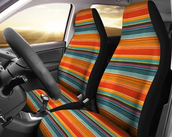 MSMM Car Seat Protector Covers Green Colorful Boho Chic Style Oriental Universal Front Seat Covers Saddle Blanket Seats Cover Protectors for Cars Truck SUV Van