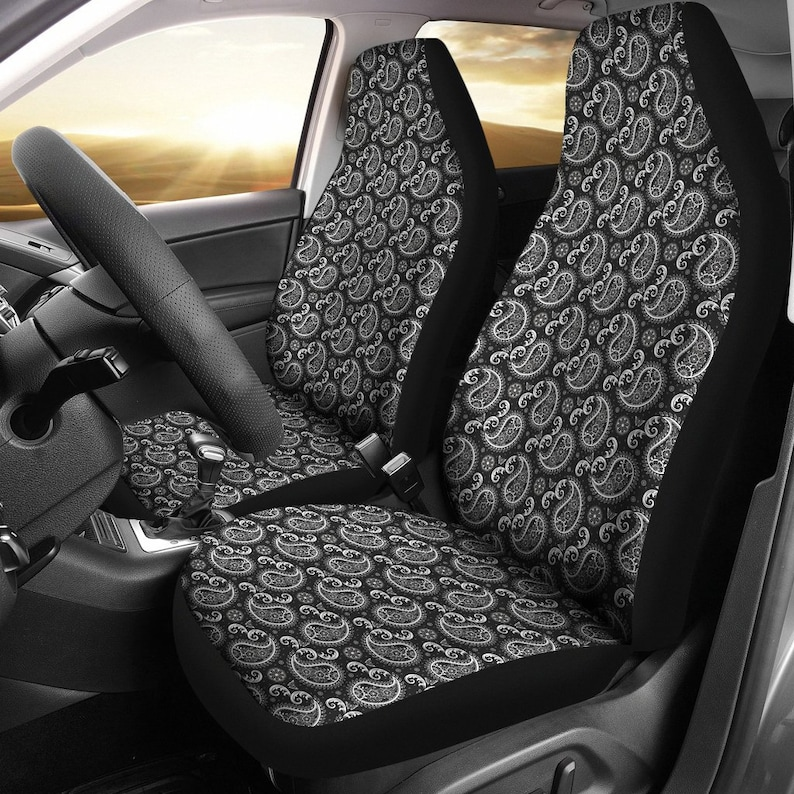 Black Paisley Pattern Car Seat Covers Bandana Print Front Bucket Seat 2 Pack For Most Suvs Or Cars