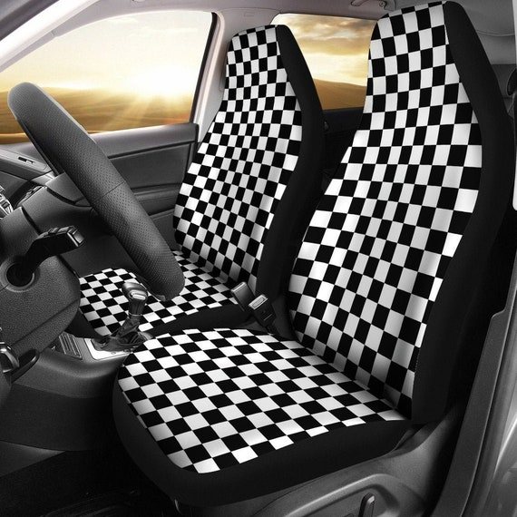 Black And White Checkered Car Seat Covers Set Seat Protectors Etsy