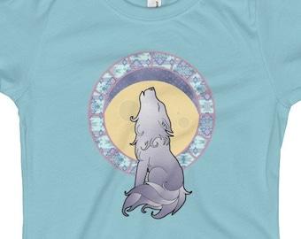 eb8a0b968fbd06 Wolf Moon Girl s T-Shirt - Art Nouveau Style Wolf Girls Shirt - Girl Cute Wolf  T-Shirt - Kids Wolf Shirt