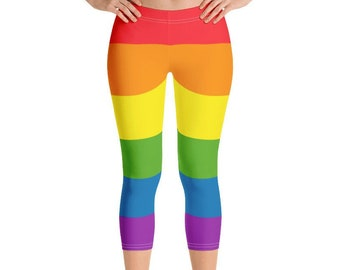 2eea00c30e4bd6 Rainbow Leggings - LGBT Pride Capri Leggings - Ladies Rainbow Gay Pride  Leggings - Womens Rainbow Leggings