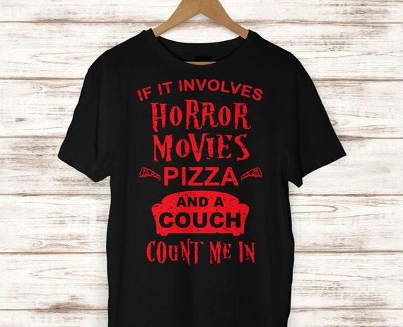 Remarkable Horror Movies Pizza And A Couch Halloween T Shirt Halloween Shirt Halloween Tee Fun Halloween Shirt Halloween Costume Caraccident5 Cool Chair Designs And Ideas Caraccident5Info