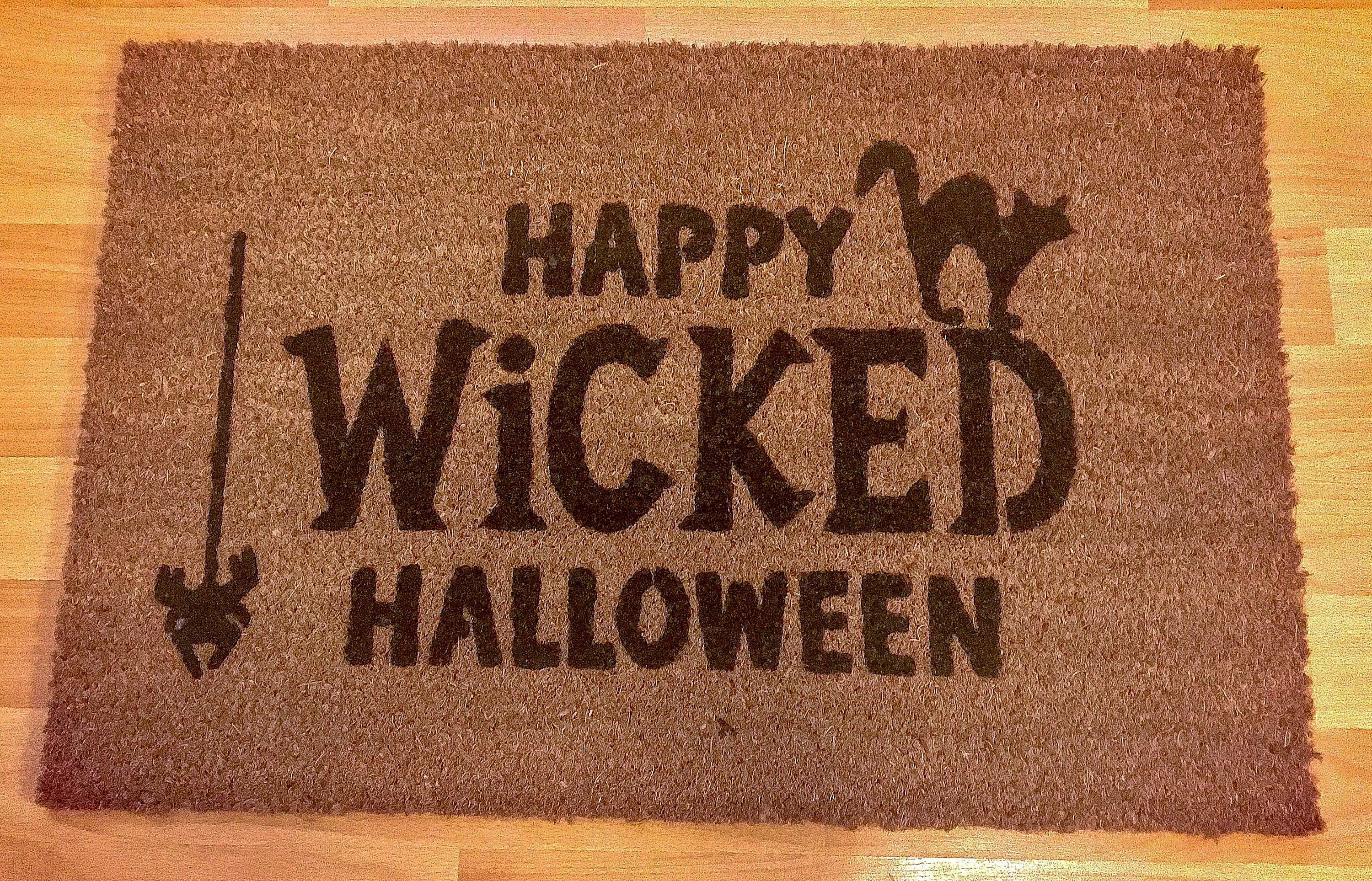 happy wicked halloween doormat doormat welcome mat | etsy