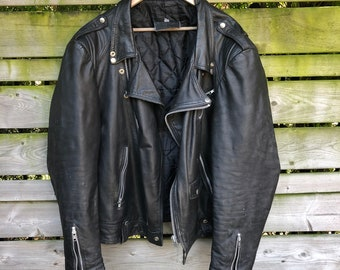 Medium Trend Hoop Cafe Racer Retro Classic Black Distressed Classic Biker Leather Jacket