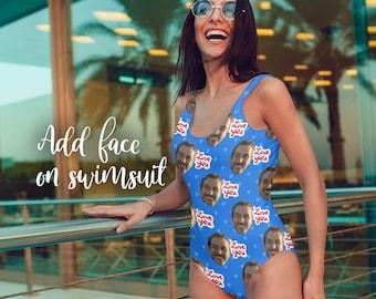 e35187e88e4 Bestie Faces Swimsuit - Custom Face - Funny Swimsuit - Custom Swimsuit -  Personalized - Bathing Suit - Gift for her - bestie Gift