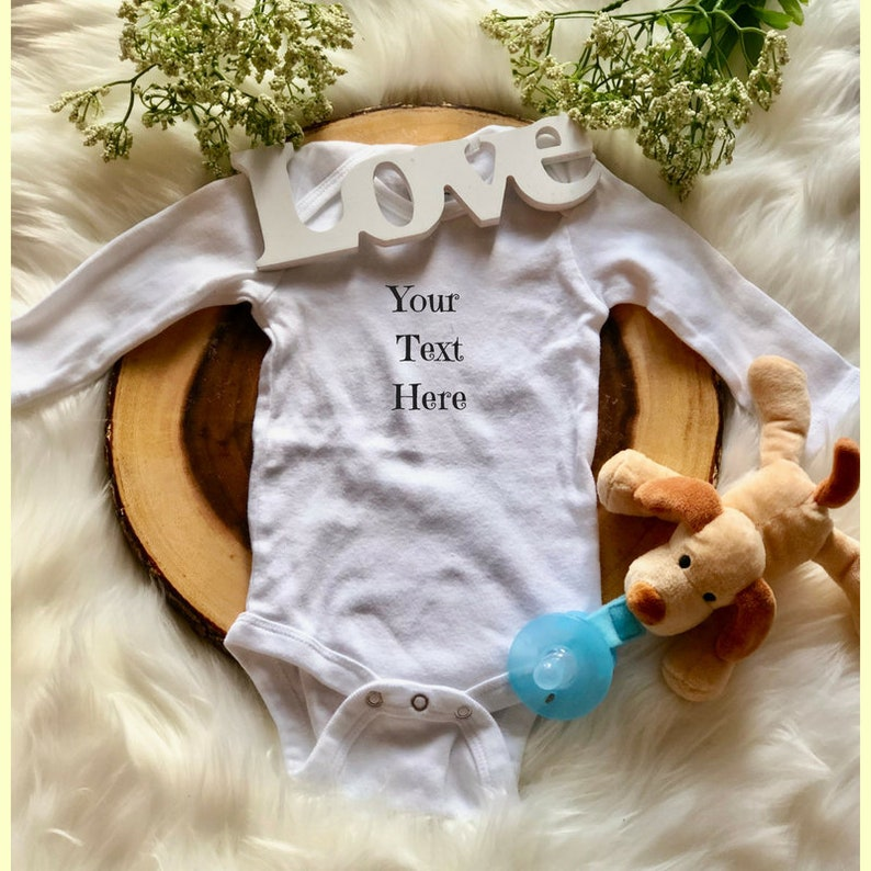 627e2af36 Custom Baby Bodysuit Your text here baby outfit Personalized | Etsy