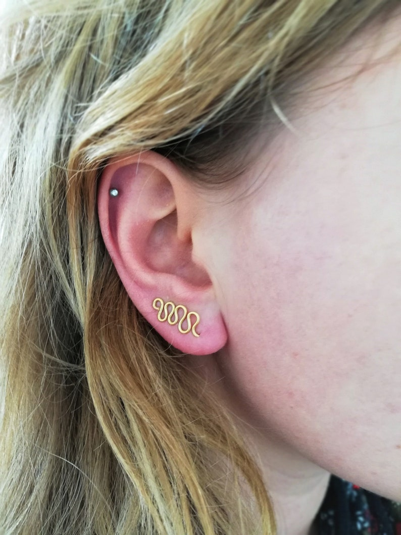 Earcrawlers climbers meander gold handmade shape earring ear stud ear crawlers ear climbers golden symbols