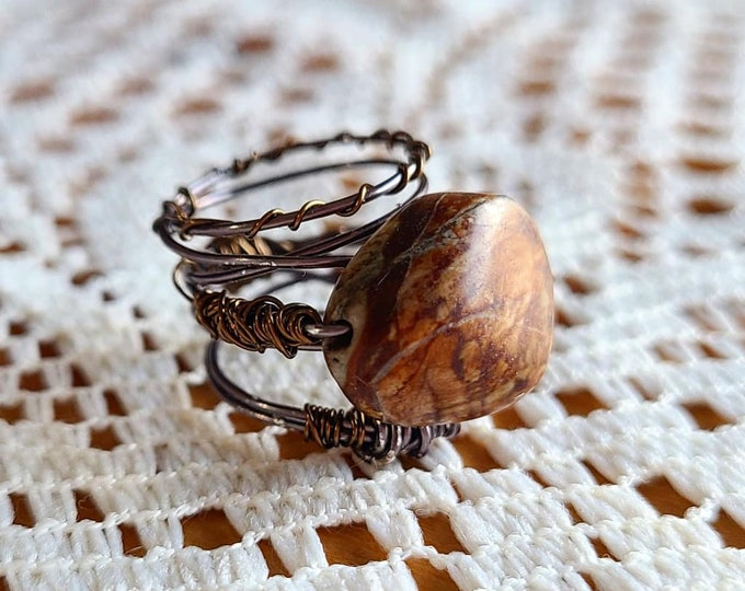 Featured listing image: Size 5-6 Petrified Wood & Copper Ring; Boho - Handmade Wire Wrapped Jewelry