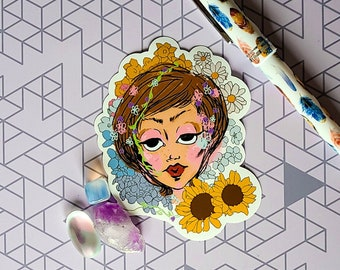 Pastel Flower Lady Sticker