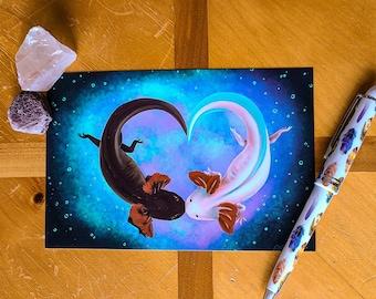Axolotl Love - Fine Art Print