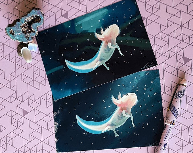 Featured listing image: Axolotl Fine Art Print (Choice between 2 different backgrounds)