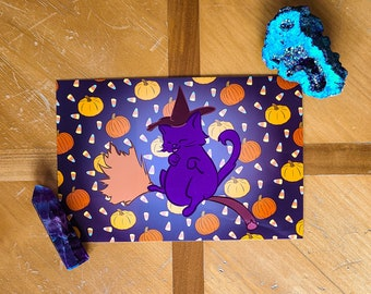 Witch Cat Print - Halloween Collection