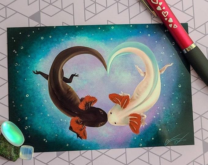 Featured listing image: Axolotl Love - Fine Art Print