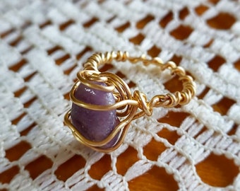 Size 6 Sparkly Lepidolite & Copper Ring; Boho - Wire Wrapped Jewelry - Handmade