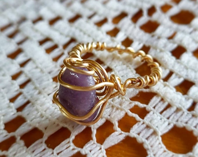 Featured listing image: Size 6 Purple Aventurine & Copper Ring; Boho - Wire Wrapped Jewelry - Handmade