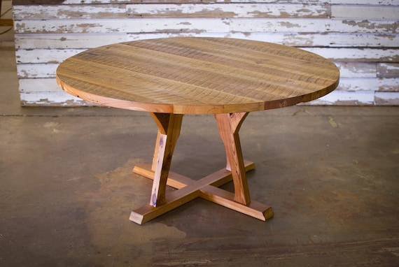 Round Dining Table Mid Century Craftsman Style From Antique Etsy