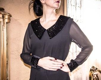 20fa3e73ca0 Vintage 90 s After Dark Black Velvet Peter Pan Collar Sequin Sheer Evening  Blouse