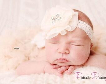 71e316cf757f1 Haarband Neugeborenen Baby Haarband Mädchen Blume Taufhaarband Reborn  Fotografie Prop Babyfotografie Luxus Stirnband Accessoire Props Taufe