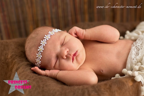 PRINCESS-DREAMS Blumenband Baby Taufe Haarband Blume Fotografie Shooting Props