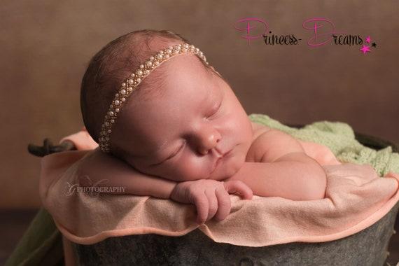 Newborn Headband Pearl Beaded Headband Christening Headband Newborn Photo Prop Beaded Newborn Baby Girl Newborn Photo Shoot Thin Headband
