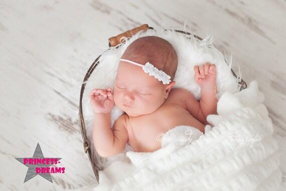 Baby Haarband Rosa Weiß Taufe Fest Blume Stirnband Kopfband Photoshooting